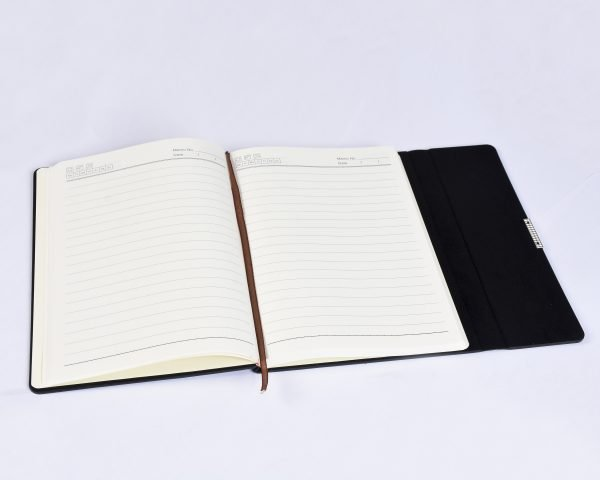 Inside of executive notebook productivity planner