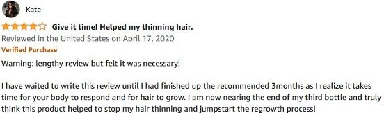 4 star Amazon review of Nutrafol by user Kate